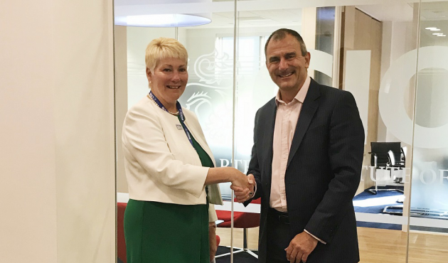 Caroline Gumble and Paul Nash FCIOB, Past President and Chair of our Quality Commission, meeting at CIOB HQ this morning.